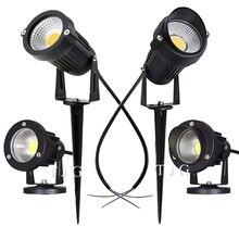 LED COB 정원 조명 3W 5W 10W 야외 스파이크 잔디 램프 방수 조명 Led 빛 정원 경로 스포트 라이트 AC110V 220V DC12V