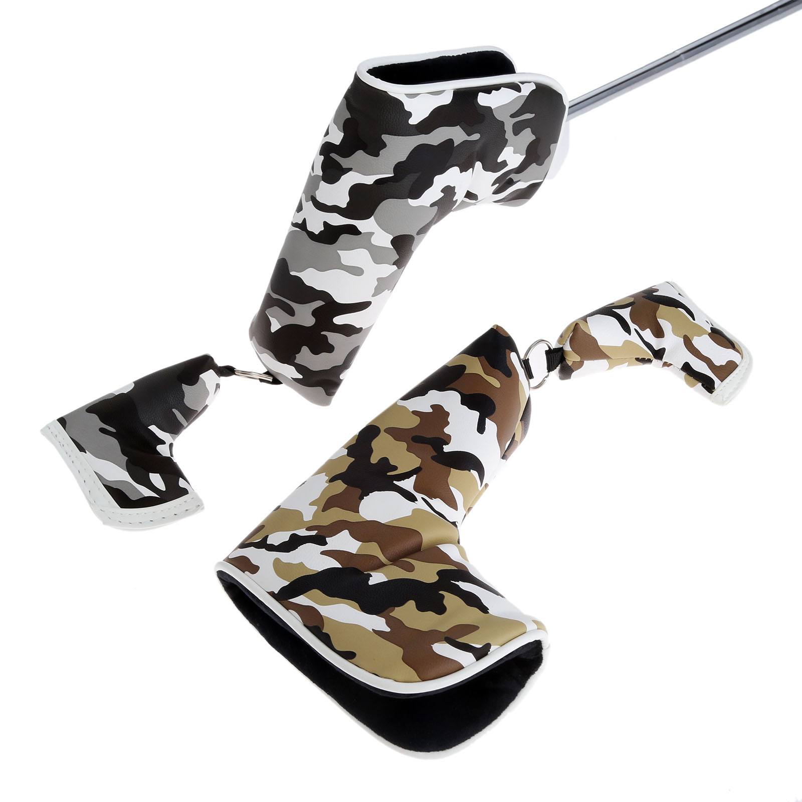 Universal Golf Blade Putter Club Head Cover Bag Camouflage Pattern Magnetic Head Covers Waterproof PU Headcover Protector Set