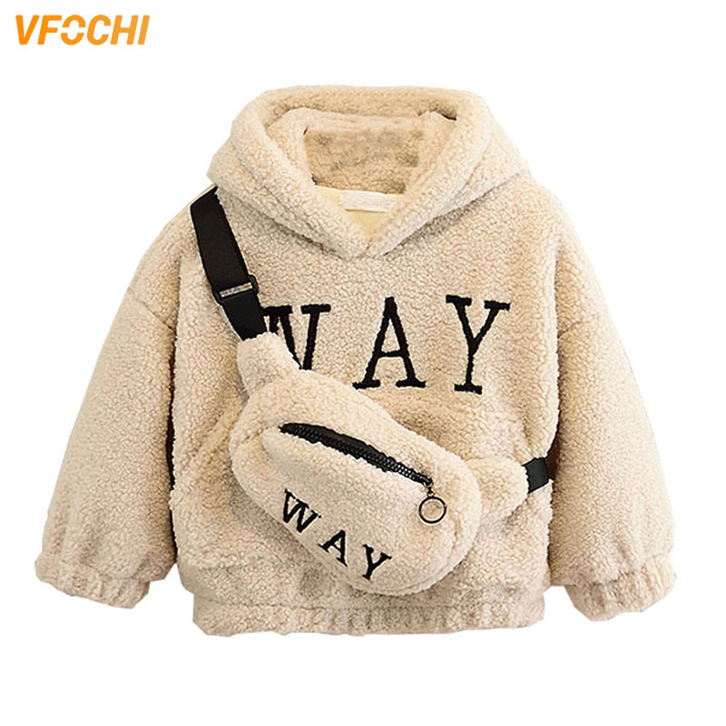 VFOCHI Boy Girl Sweatshirts with Bag Winter Wool Thick Children Hooded Long Sleeves Sweatshirt Unisex Warm Boy Girls Sweatshirts 1