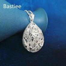 цена на Bastiee Butterfly 999 Sterling Silver Water Drop Pendant For Women Hollow Out Big Pendants Luxury Jewelry Miao Handmade Ethnic