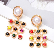 Wholesale ZA Hot Styles Hollowed-Out Dangling Drop Earrings Studded With Colorful Crystals Fashion Trendy Fine Jewelry Accessories For Women Christmas Gift