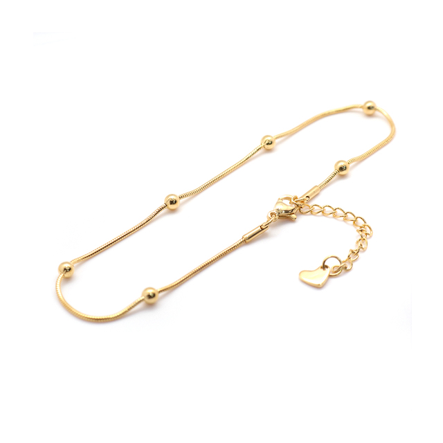 """304 Stainless Steel Anklet Gold Color 23.3cm(9 1/8"""") long Snake Chain Anklet For Women Foot Bracelets Jewelry 2021 Trend,1 Piece 6"""