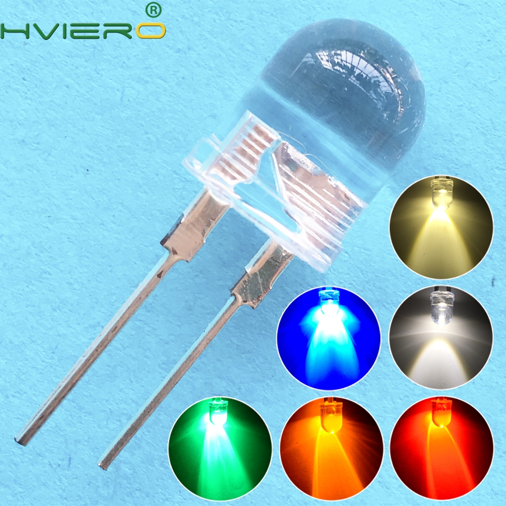 50pcs 10mm White Red Green Blue Yellow Diode Led Round 0.5W Power Light 3.2~3.6V LED Lamp Bead Light-emitting Diodes 30KMCD Bulb