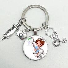 Милый медицинский kechain с сердечком Ангел кольцо для ключей