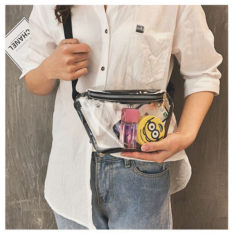 Women Transparent Bag Fanny Pack PVC Clear Zipper Cross Body Bag Tote Shoulder Waist Pack Purse  /BY