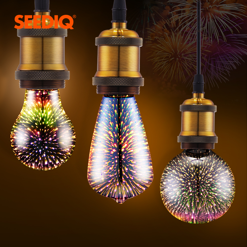 Led Bulb E27 Retro 3D Decoration Led Lamp 220v 110v A60 ST64 G80 G95 G125 Firework Holiday Lights Novelty Lights Light Bulb