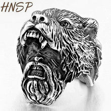 HNSP Punk Viking Animal Bear Head Ring For Men Male Domineering finger stainless steel jewelry Anel 7-14 big size(China)