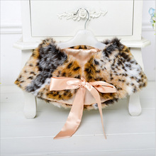 Autumn Winter Faux Fur Kids Girl Shawl Coat For Birthday Wedding Party 3-8Yrs Christmas Baby Leopard Cape For Girl Dress Clothes