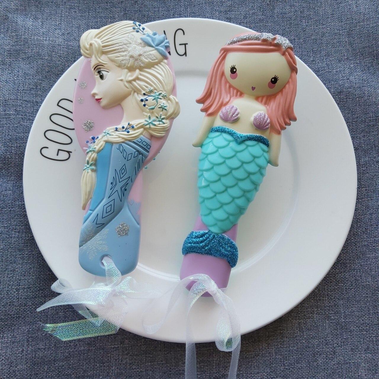 Frozen 2 Kids Toys For Girl Mermaid Cute Elsa Princess Baby Hair Comb New Cartoon Cosplay Children Toys Photo Prop Birthday Gift