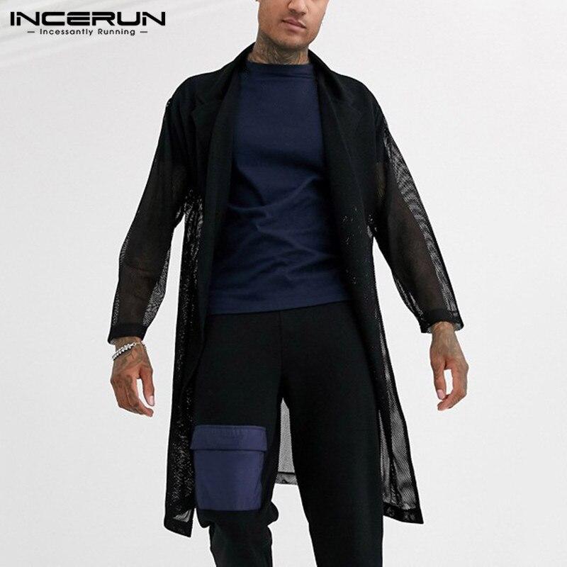 INCERUN Fashion Mesh Men Shirt Long Outerwear Solid Sexy Open Stitch See Through Long Sleeve Streetwear Mens Tops Cardigan 2020