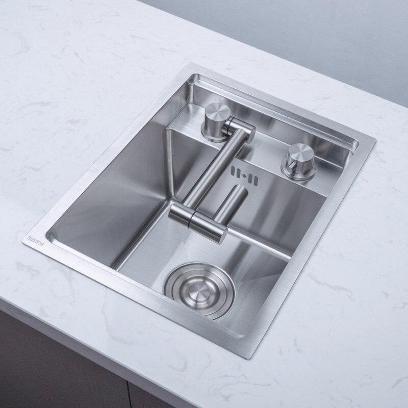 Hidden Kitchen Sink With Faucet Black Single Bowl Above Counter Cozinha Sinks Stainless Steel Udermount Vegetable Washing Basin Mega Deal 0016 Cicig