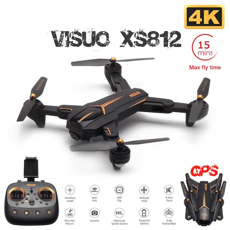 VISUO XS812 GPS Drone con cámara 4K HD Drone 5G WIFI FPV altitud mantener una tecla de retorno RC Quadcopter helicóptero VS E520S sd906