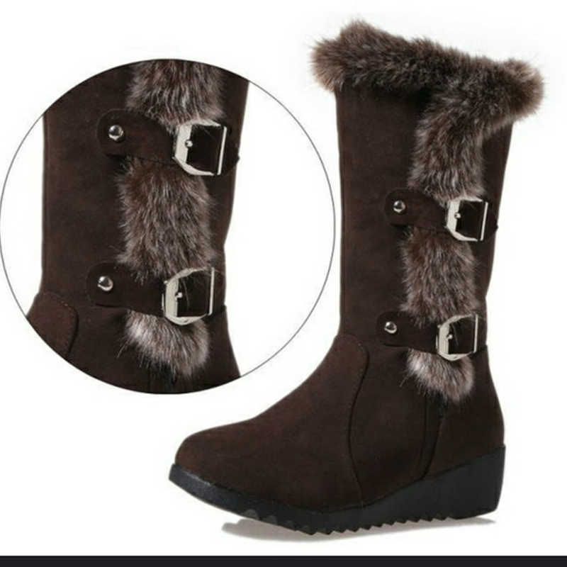 Mulheres Botas de Inverno Sapatos de Inverno Rebanho Senhoras Moda Neve Botas Sapatos de Cano Alto de Camurça Botas Mid-Calf