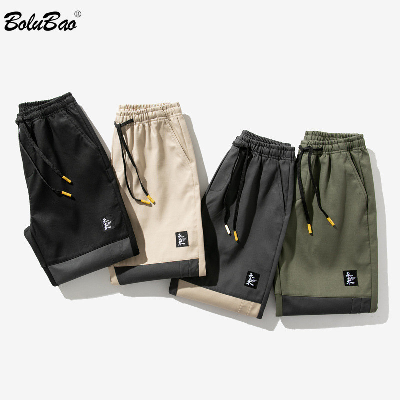 BOLUBAO Brand Men Cargo Shorts Men's Fashion Patchwork Straight Knee Length Shorts Summer New Trend Wild Shorts Male