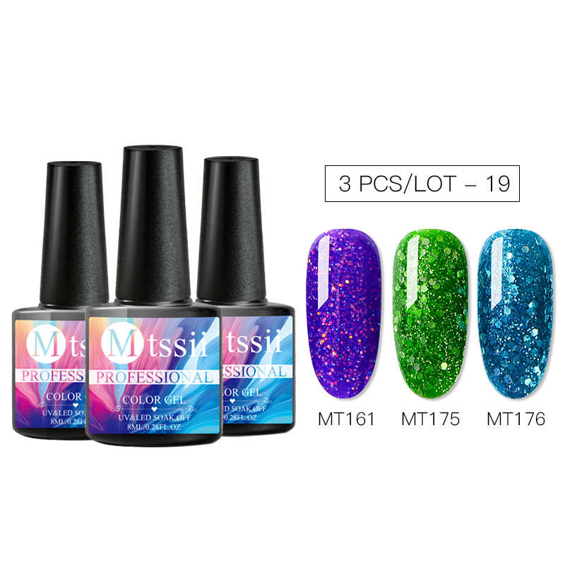 Mtssii 3PCS เล็บเจลเล็บชุด 8ml เจลเล็บชุดชุดเจล UV เจลทาเล็บเล็บชุด UV สำหรับเล็บ UV เจลเล็บ Polis