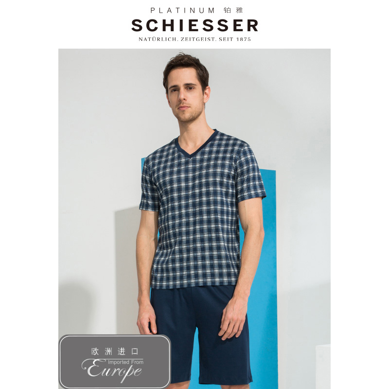 SCHIESSER PLATINUM European imported men's cotton breathable short-sleeved shorts home suit E9/16185H