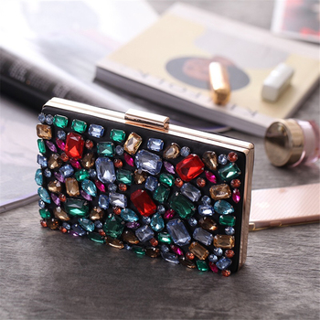 2020 High Quality Fashion Clutch Crystal Shiny Style Evening Bag Wedding Accessories Dinner Bag Gold Chain Bag colorful metallic crystal striped women cell phone wallet silicone toiletry bangkok clutch bag dinner wedding dress evening bag