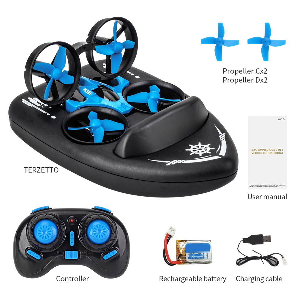 Mini Drone 3 in 1 RTF RC Quadcopter Boat Sea-Land-Air Car Helicopter with Headless Mode 3D Flips Plane Creative Toy for Kids