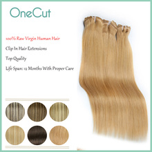 Raw Virgin Hair Extensions Clip Ins Natrual Straight Full Head Clip In Hair Extensions Pure Color Invisible Hairpieces Soft Wigs