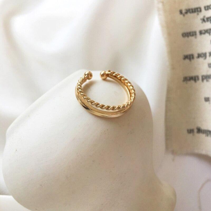 Neue Gold Einfache Open Reif Metall Streifen Doppel Ring Retro Geprägte Linie Täglich Vielseitig BandIns Frauen