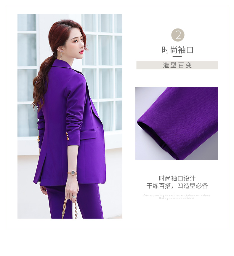 Purple Belt Women Winter Suit Slim Temperament Long Sleeve Blazer and Pants Office Ladies Fashion Business Work Wear