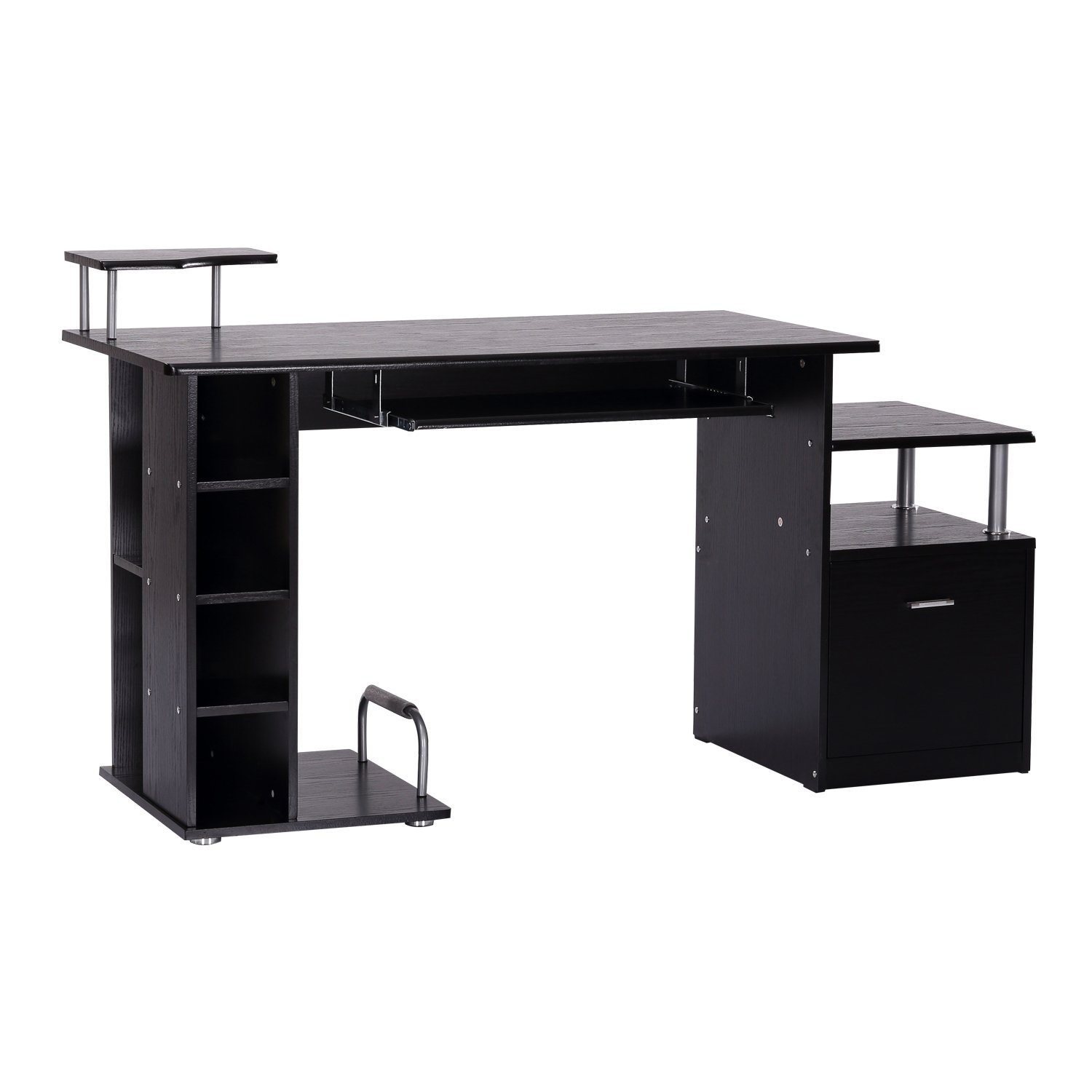 HOMCOM Desk Computer PC Port With Shelves Office 152x60x88cm Black Keyboard