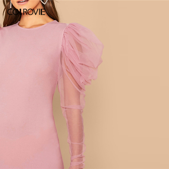 COLROVIE Pink Mesh Gigot Sleeve Bodycon Dress Women Sheer Sexy Backless Mini Dress 2020 Spring Slim Elegant Pencil Dresses 4