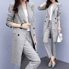 Business Interview Women Plaid Pants Suits Plus Size Work Wear Office Lady Doubl