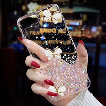 Crystal butterfly Glitter Case For Apple iPhone 11 12 Pro Max SE 2 2020 6 S 7 8 Plus X XS MAX XR Soft Back Coque Capa Cover