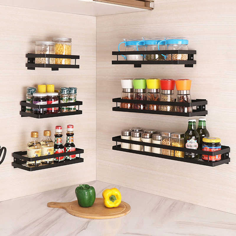 wall shelf for kitchen iron wall mounted storage shelves organizer spice jars holder rack spice rack paste up drill