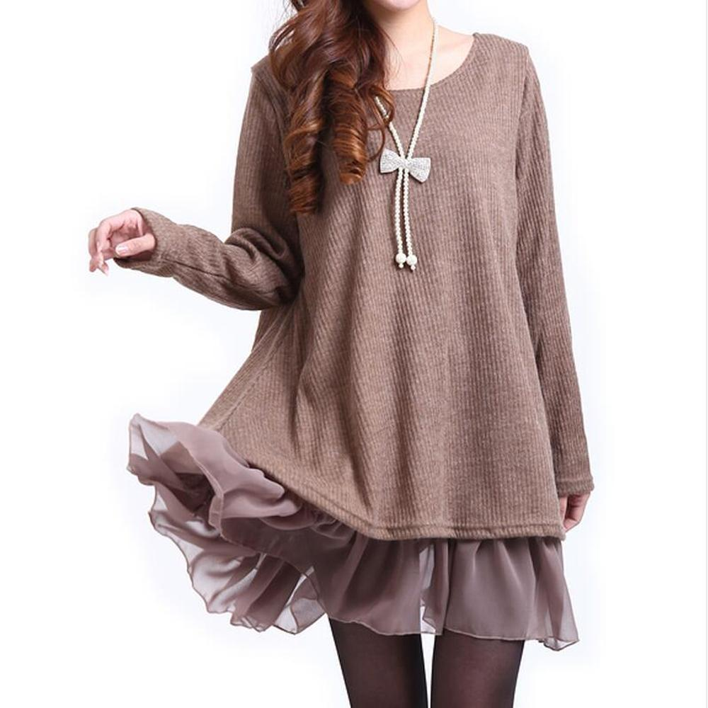 Plus Size 3XL 4XL Mini Dress Women Khaki A-line Dresses Spring Autumn Lace Vintage Swing Casual Dresses