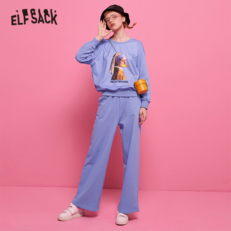 ELFSACK Purple Casual Two Piece Set Figure Print Top And Pants 2019 Autumn Korean Style Women 2 Piece Outfits