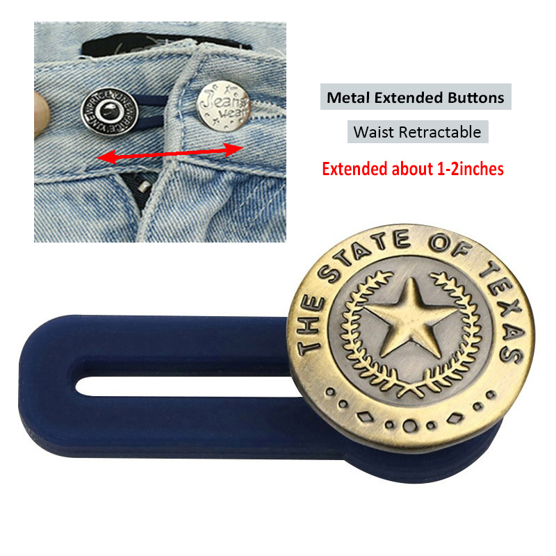 No Sewing Snap Metal Retractable Buttons for Clothing Jeans Adjustable  Waistline Increase Waist Fastener Extended Button    - AliExpress