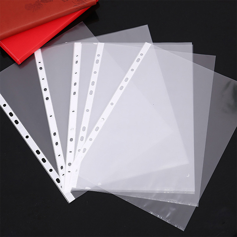 100pcs A4 Clear Plastic Punched Pockets Folders Filing Wallets Sleeves Untral Thin 11Holes Loose Leaf Documents Sheet Protectors