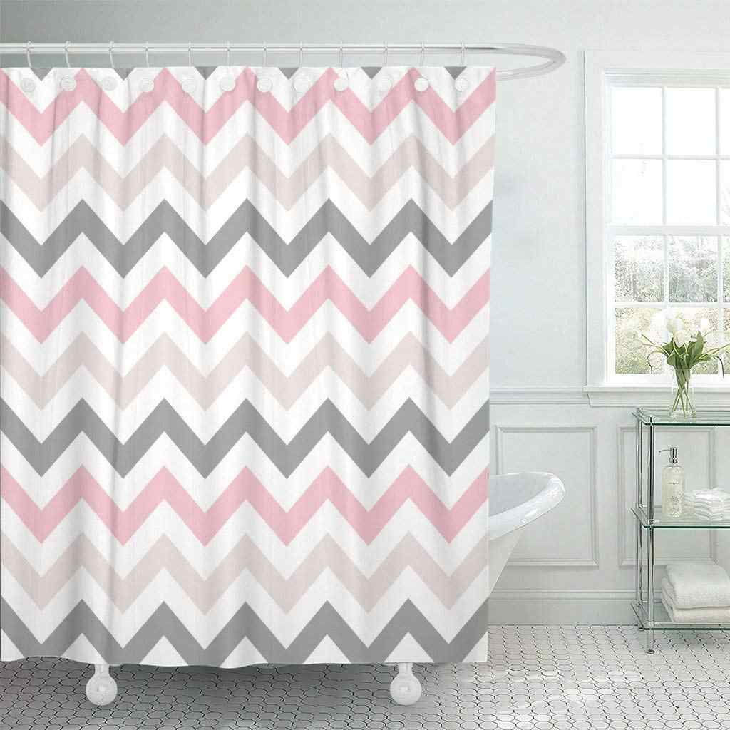 pink grey chevron zigzag pattern beige abstract beautiful beauty shower curtain waterproof polyester fabric 72 x 72 inches