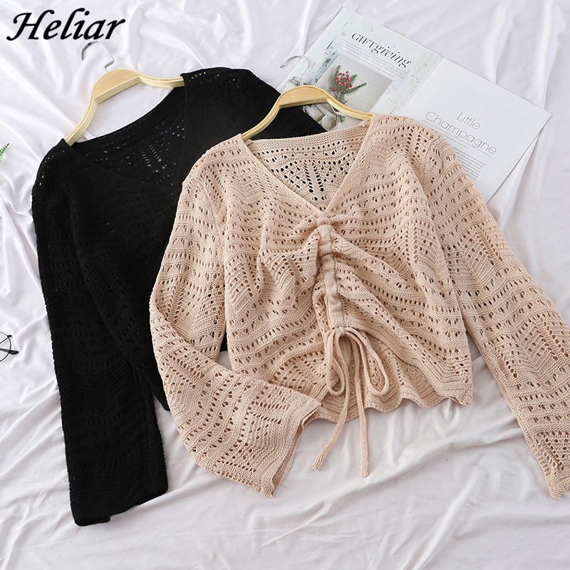HELIAR Women 2019 Spring Hollow Out Sweater V-Neck Draw Rope Design Long Sleeve Knitted Shirt Pullover And Sweater Loose C