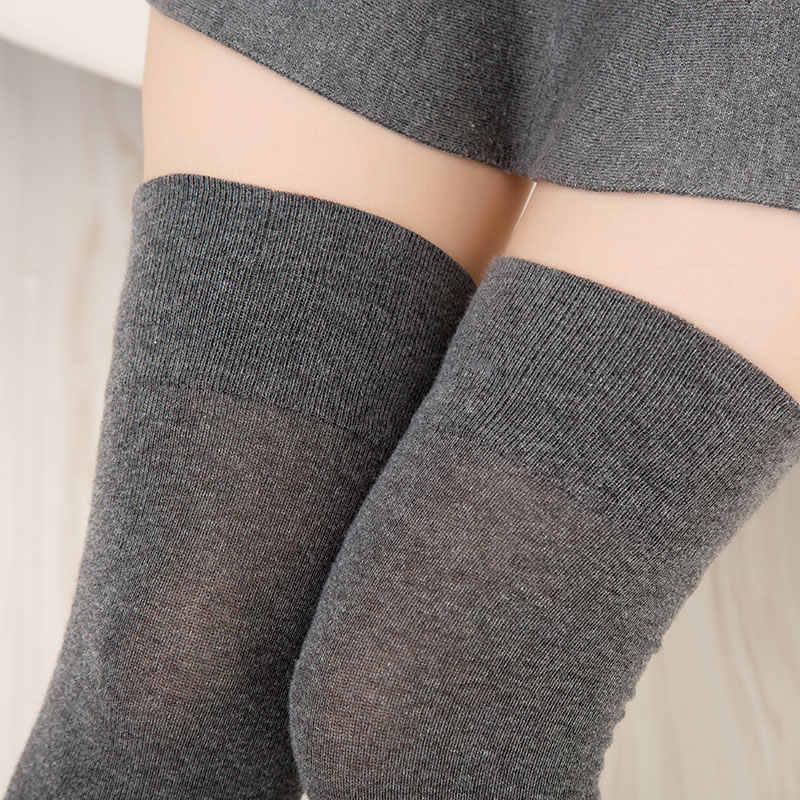 Дышащие зимние женские длинные однотонные хлопковые чулки, женские теплые носки выше колена для студенток и девушек