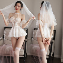 Sexy lingerie bridal dress female uniform lace pure and sweet wedding dress sexy transparent princess suit pajamas sex party