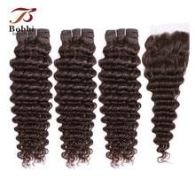 Weave Lace Closure Human-Hair Deep-Wave-Bundles Dark-Brown Brazilian with Bobbi-Collection