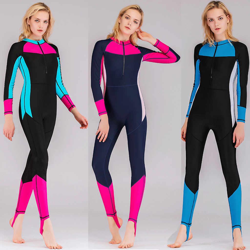 Tek parça 3mm neopren cilt Wetsuit mayo kadınlar Bodysuit dalış elbisesi sıcak tutmak sörf tüplü dalış Spearfishing takım elbise