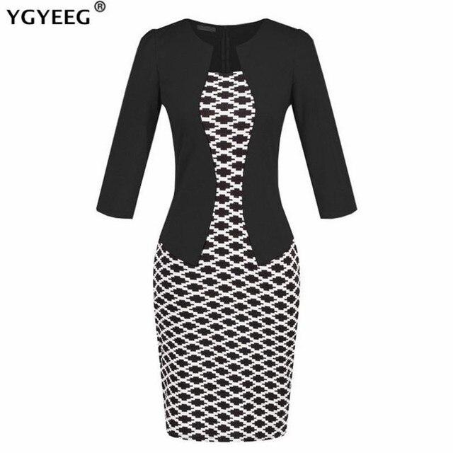 YGYEEG Women Dresses One Piece Patchwork Floral Print Elegant Business Party Formal Office Plus Size Bodycon Pencil Work Dress 1
