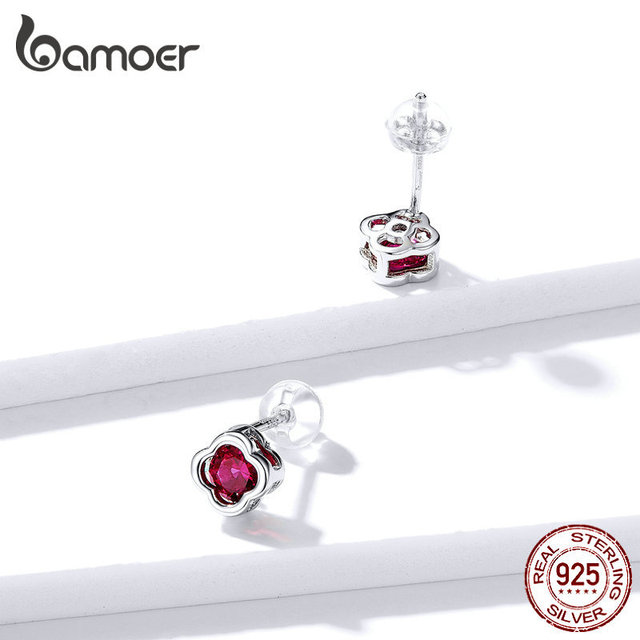 925 Sterling Silver Flower Stud Earrings for Women Wedding Engagement Statement Jewelry Red CZ Stone Brincos.jpg 640x640 - 925 Sterling Silver Flower Stud Earrings for Women Wedding Engagement Statement Jewelry Red CZ Stone Brincos BSE318