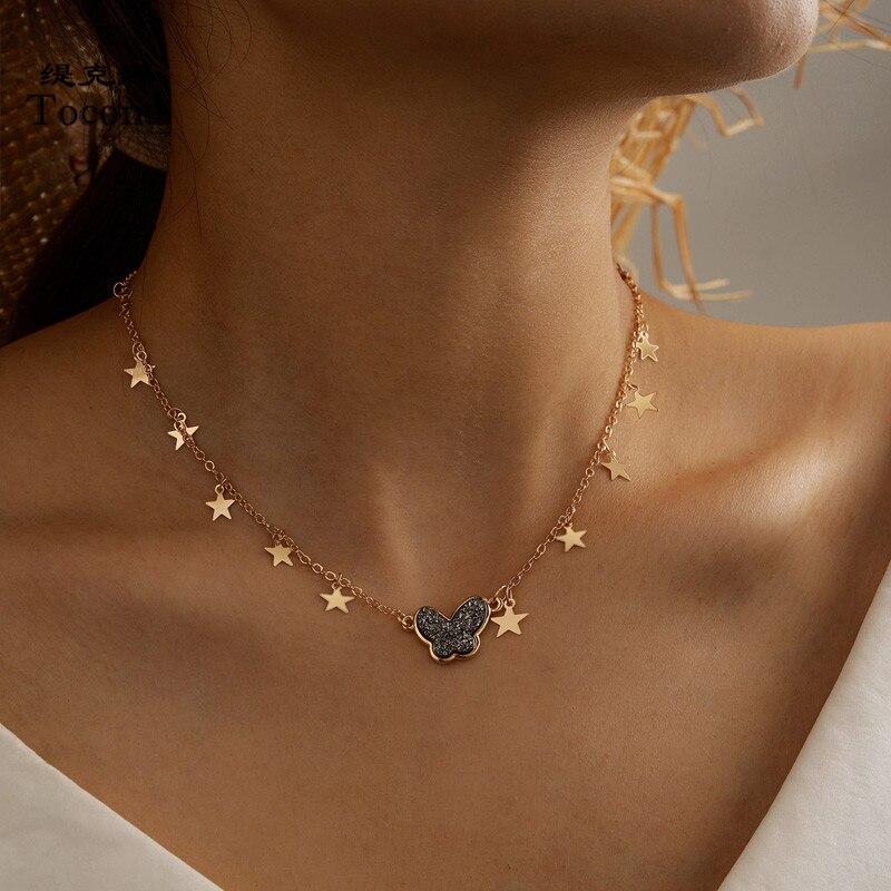Tocona очаровательные блестящие стразы цепь с плетением «бабочка» чокер ожерелье для женщин золотой цвет звезда ювелирные изделия подарочные...