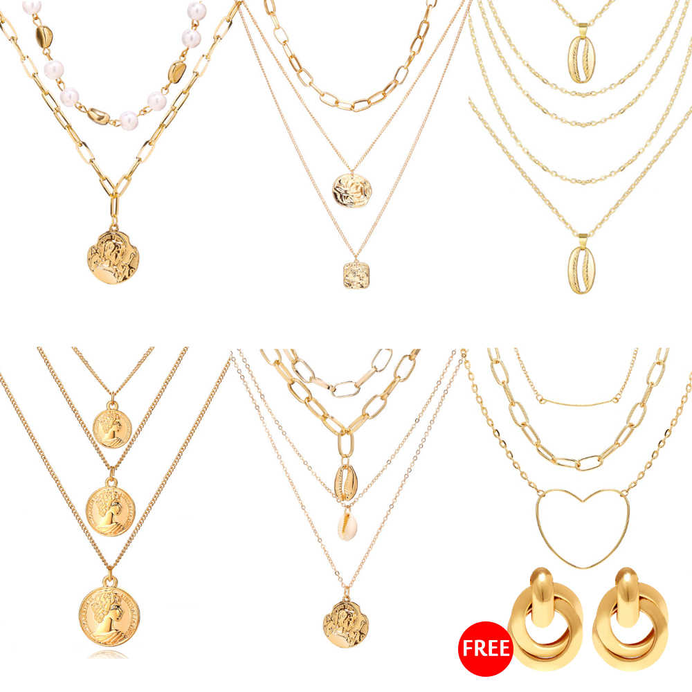 17KM oświadczenie wisiorek w kształcie monety wielowarstwowy Choker naszyjnik dla kobiet w stylu Vintage imitacja perły złote łańcuchy 2019 nowych biżuterii prezenty