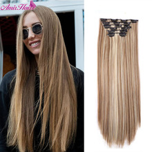 Hair-Extensions Heat-Resistant Clip-In False-Hairpiece Brown Color Black Straight Long