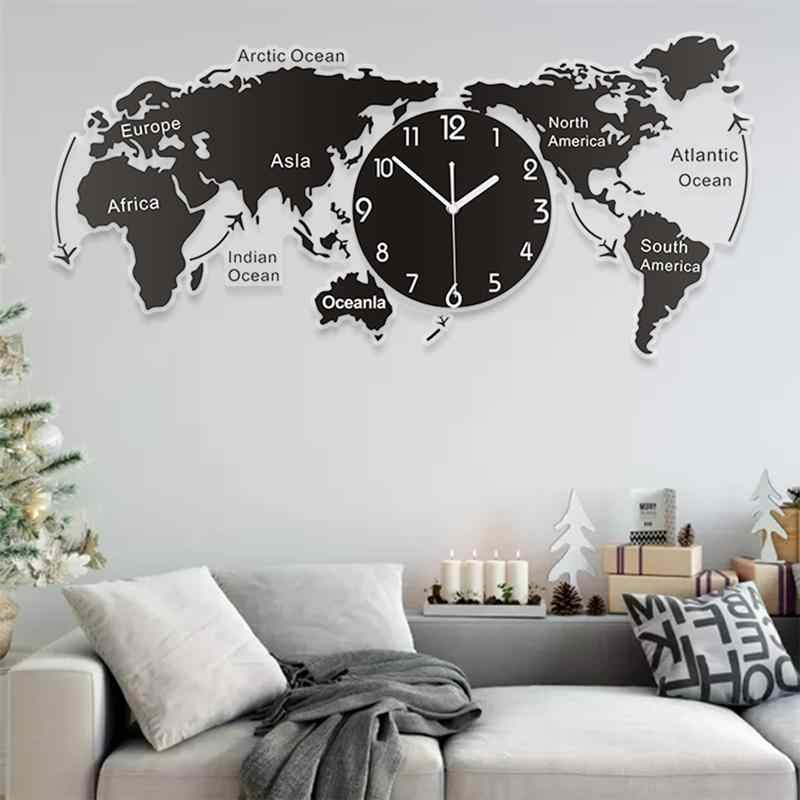 1pc Unique Acrylic Wall Clock Creative World Map Wall Hanging Clock For Office Home Living Room Wall Art Home Decorations Wall Clocks Aliexpress