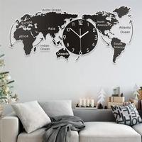 1 pc único acrílico relógio de parede criativo mapa do mundo pendurado parede para o escritório casa sala estar arte da parede decorações casa|Rel. parede| |  -