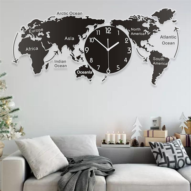 1PC Unique Acrylic Wall Clock Creative World Map Wall Hanging Clock For Office Home Living Room Wall Art Home Decorations