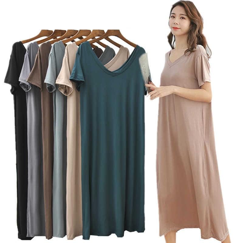 Neue Modale Grundlegende Nachthemd Nachthemd Lange Sexy Dame Hause Kleid Sommer Schwangere Nachtwäsche Sexy Nacht Hemd Lose Nachtwäsche