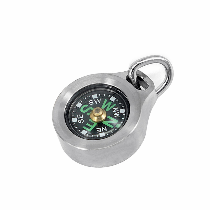 Titanium Alloy/Copper Luminous Waterproof Compass Pendant Outdoor Mini Compass Keychain Necklace With Stainless Steel Bead Chain